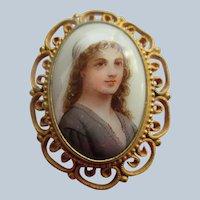 Older Vintage Porcelain Portrait Pin