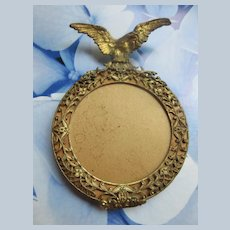 Older Vintage Miniature Brass Frame with Eagle