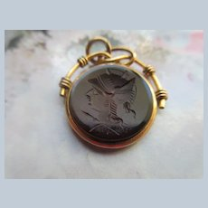 Antique Carved Intaglio Fob Charm in Gold Fill
