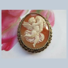 Older Vintage 800 Silver Carved Shell Cameo Pin Pendant