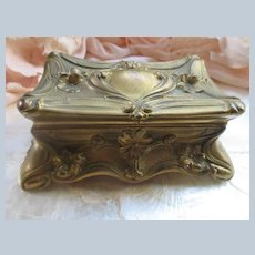Art Nouveau Floral Box with Tattered Pink Lining