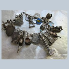 Vintage Sterling 800 Silver Travel Charm Bracelet Enameled Charms Air Plane Charm