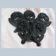 Older Vintage Black Glass Dress Appliques Set 5