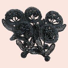 Older Vintage Black Glass Dress Appliques Set 5