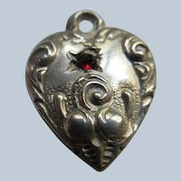 Antique Sterling Tiny Puffy Heart Charm Pa