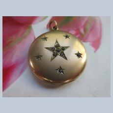 Victorian Antique Gold Fill Paste Locket Stars