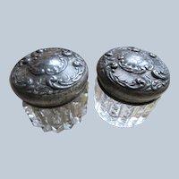 Victorian Pair Silver Plate Repousse Dresser Jars