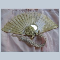 Circa 1920 Celluloid Fan with Matching Mirror on Ribbon Work Chain