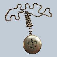 Antique Fleur Di Lis Locket Watch Chain Necklace