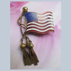 Vintage Enameled American Flag Brooch with Fox Tail Tassels