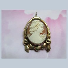 Vintage Carved Shell Cameo Pin Pendant in Gold Fill