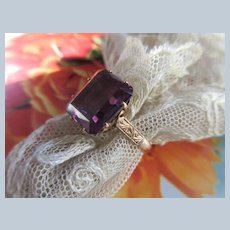 Vintage 14K Faux Synthetic Alexandrite Ring