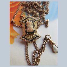 Antique Victorian Ladies Watch Chain Slide Chain with Cameo Enameled Slide