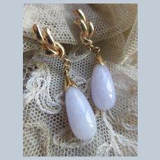 Older Vintage 10K Lavender Jade Screw Back Earrings