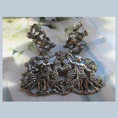 Older Vintage 800 Silver European Cherub Brooch and Screw Back Earrings