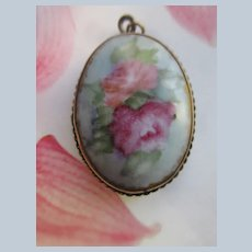 Victorian Painted Porcelain Pin Pendant with Pink Roses