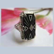 Art Deco Era 14K White Gold Filigree Carved Onyx Ring