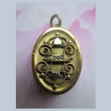 Victorian Antique Locket in Gold Fill with Tiny Seed Pearls
