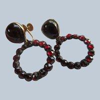 Antique Victorian Bohemian Garnet Screw Back Earrings 14K Tops