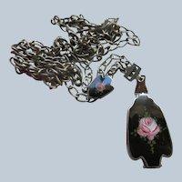 Art Deco Era Enameled Sterling Locket Slide Necklace
