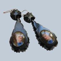Antique Victorian Jet Portrait Earrings