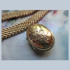 Antique Victorian Mesh Bracelet with Locket Charm in Gold Fill