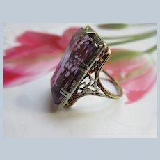 Art Deco Era 14K White Gold Filigree Amethyst Ring