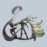 Vintage Sterling Swan and Dancers Pin Swan Lake