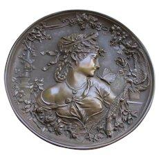 Antique Art Nouveau Bronze Plaque