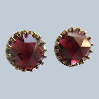 Vintage 14K Rose Cut Garnet Pierced Earrings 3CTW