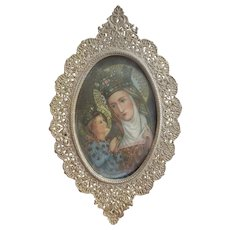 Vintage Brass Filigree Framed Devotional Image of Sainte Anne De Beaupre with Child Mary