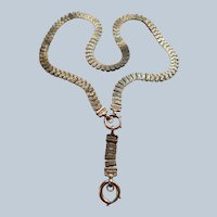 Victorian Antique Book Chain Collar Necklace in Gold Fill with Front Clasp and Extender Chain Bail