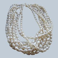 Vintage Fresh Water Pearl Necklace 14K Clasp