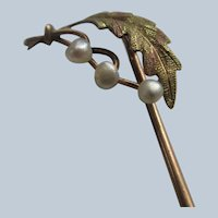 Antique 10K Seed pearl Stick Pin