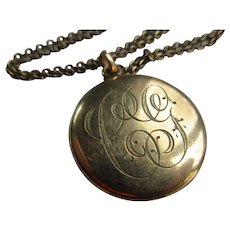 Antique Gold Fill Monogrammed Picture Locket Necklace