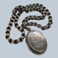 Victorian Antique English Sterling Locket Necklace  English Hallmarks