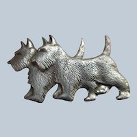 Vintage Beau Sterling Scottie Dogs Pin