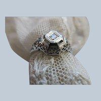 Deco 10K White Gold Filigree Diamond Ring