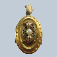 Antique Victorian Etruscan Revival Picture Locket in Gold Fill