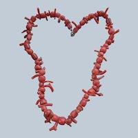 Older Vintage Carved Natural Coral Necklace
