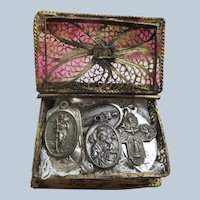 Older Vintage Book Shaped Box with Six Religious Medals
