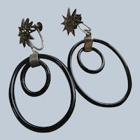Deco Sterling Black Glass Screw Back Earrings Marcasites