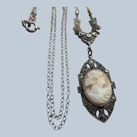 Vintage Sterling Carved Shell Cameo Lavaliere Necklace circa 1930