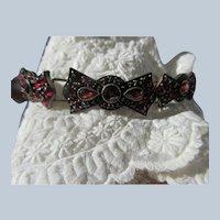 Antique Bohemian Garnet Bracelet  Rose Cut Garnets