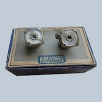 Vintage Deco Kum Apart Cufflinks in Original Box - Silver Toned Mother Of Pearl Cufflinks with Blue Accents