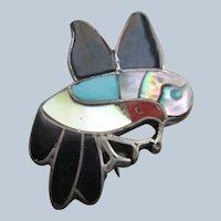 Vintage Sterling Inlay Zuni Hummingbird Pin