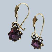 Vintage 10K Glass Pierced Earrings Buttercup Settings