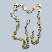 Victorian Antique Book Chain Necklace in Gold Fill