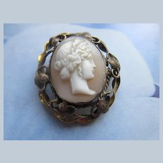 Victorian Antique Carved Shell Cameo Pin in Gold Fill