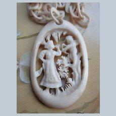 Older Vintage Carved Celluloid Necklace Cupid